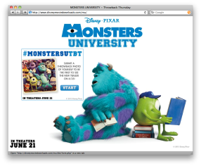 A web application/small promotion for the premiere of Monsters University. Created by Oskoui + Oskoui
